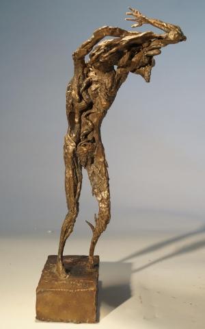 Study for Woman Disrobing II. Unique cast bronze. H. 13 inches.